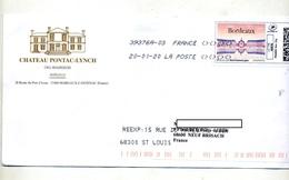 Lettre Flamme Chiffree Sous Code Sur Timbre En Ligne Bordeaux Entete Vin Pontac  + Impression Reexpedition - Marcophilie (Lettres)