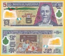 Guatemala 5 Quetzales  P-122 2010 UNC Polymer Banknote - Guatemala