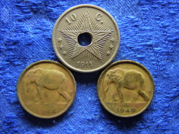CONGO BELGIAN 10 CENTIMES 1911 KM18, 1 FRANC 1944, 1949 KM26 - Congo (Belge) & Ruanda-Urundi