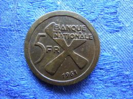 CONGO KATANGA 5 FRANCS 1961, KM2 - Congo (République 1960)