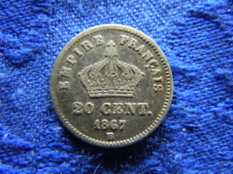 FRANCE 20 CENTIMES 1867 BB, KM808.2 - France