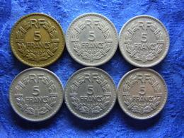 FRANCE 5 FRANCS 1940 KM888a.1, 1945-1947 Open 9, 1949,1947B Open 9 KM888b.1 .2 (8) - J. 5 Francs