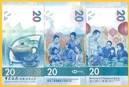 Hong Kong Set Of 3 Banknotes 20 Dollars P-new 2019 UNC Banknotes - Hong Kong