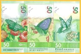 Hong Kong Set Of 3 Banknotes 50 Dollars P-new 2019 UNC Banknotes - Hong Kong