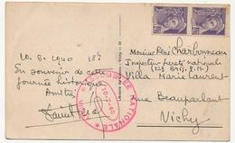 """FRANCE - CP Affr.40c Mercure X2 Non Oblit. Cachet """"Assemblée Nationale VICHY 10/7/1940"""" + CPA Cachet Bleu Id - 1938-42 Mercure"""