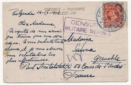 """SERBIE - Carte Postale Depuis Belgrade Pour Grenoble - Cachet Rect """"Censure Militaire Serbe"""" 1919 - Serbie"""