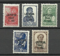 German Occupation Lettland Latvia 1941 = 5 Values From Michel 1 - 6 MNH (1 Stamp Without Gum) - Occupation 1938-45