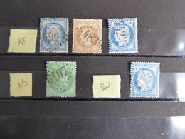 FRANCE Oblitération Gros Chiffres   Indice 17, 19 Et 20 - Storia Postale (Francobolli Sciolti)