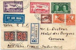 """NOUVELLE - ZÉLANDE : DE """" AUCKLAND """" . POUR LA SUISSE . PA . REC . - 1907-1947 Dominion"""