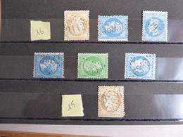 FRANCE Oblitération Gros Chiffres    Indice 15 Et 16 - Storia Postale (Francobolli Sciolti)