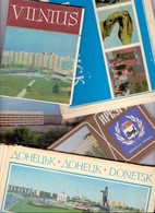 25 Completi Cartoline Postcards Cartes Russian And Ex Russia Town Like Togliatti Leningrad Donetsk Erevan Etc - Russia