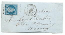 N° 14 BLEU NAPOLEON SUR LETTRE / ELBEUF POUR ROUEN / 30 MAI 1862 - Marcophilie (Lettres)