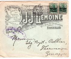 CP BELGIQUE ENTIER POSTAL - Occ. Timbres 2x 5 Centimes Belgien - Bruxelles - 1916 - Genappe - J.J. Lemoine - Entiers Postaux