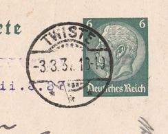 Deutsches Reich Karte Mit Tagesstempel Twiste 1937 Twistetal Lk Waldeck - Frankenberg - Ganzsachen