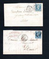 Nord Lettres De Valenciennes Timbrées Avec Cachets P.C Et G.C - Postmark Collection (Covers)