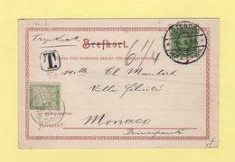 Timbre Taxe Francais Utilise A Monaco - Carte De Suede - 1900 - Marcofilia (sobres)