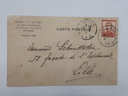 Timbre Type Pellens Sur Carte Envoyée D'Ostende Vers Lille Avec Griffe Agence J.F.Desmet ... Lot65 . - 1912 Pellens