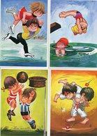 WILL BERG 6 PRENTBRIEFKAARTEN VOOR HET KIND 1980.Complete Set Of 6 Cards.Postally Unused.Children Sporting.Sports.Sport! - Other