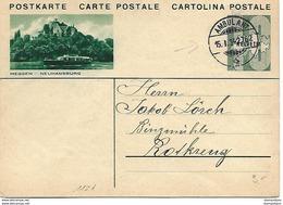 """164 - 34 - Entier Postal Avec Illustration """"Meggen"""" Avec Cachet à Date Ambulant 1934 - Ganzsachen"""