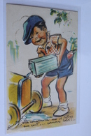 Bouret Germaine A DECOUPIES Enfant Faisant Son Plein En L Etat - Bouret, Germaine