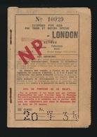 EXCURSION D'UN JOUR PAR TRAIN ET BATEAU SPECIAL  OOSTENDE - LONDON   2 SCANS - Autres