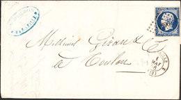 FRANCE Lettre Napoléon 20c (1896)ND De MARSEILLE Du 1er Mai 1856 Via TOULON - Marcophilie (Lettres)