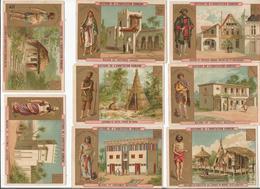 21 CHROMOS DIFFERENTS DE L'EXPOSITION UNIVERSELLE DE PARIS 1889 (HISTOIRE DE L'HABITATION HUMAINE) - Sonstige