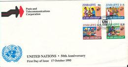 Zimbabwe FDC 17-10-1995 United Nations 50th Anniversary Complete Set Of 4 With Cachet - Zimbabwe (1980-...)