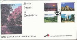 Zimbabwe FDC 18-7-1996 Scenic Views Of Zimbabwe Complete Set Of 4 With Cachet - Zimbabwe (1980-...)