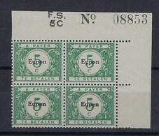 OC101** : Bloc De 4, Coin De Feuille Numéroté 08853 - [OC55/105] Eupen/Malmedy
