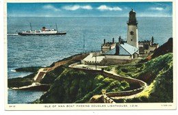 Isle Of Man Boat Passing Douglas Lighthouse - Tuck IOM 137 - Isle Of Man