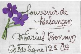 Besançon Souvenir De Besançon Marius Bonnin 60° De Ligne 12e Cie Ajoutis Violettes Tissus - Besancon