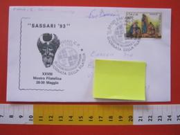 A.12 ITALIA ANNULLO 1993 SASSARI GIORNATA FILATELIA SELEZIONE SARDEGNA STEMMA TORRI ARALDICA + AUTOGRAFO E. DONNINI - Stemmi