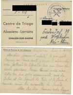 Correspondance En Provenance Du Centre De Triage Des Alsaciens-Lorrains Chalon-sur-Saône - 24.5.1945 - Liberazione