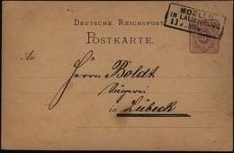 Deutsches Reich Ganzache P 10 Mit R3 Mölln In Lauenburg N. Lübeck 11.9.1880 - Deutschland