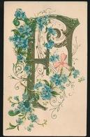 ALPHABET LETTRE F FLEURS  GAUFFREE  RELIEF - Fancy Cards