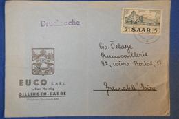 425 SAAR BELLE  LETTRE 1955 POUR GRENOBLE ISERE CACHET DRUCKSACHE AVEC TIMBRE SEUL + OCC FRANCAISE - Covers & Documents