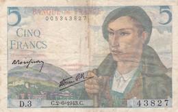5 Francs  Berger  C.2=6=1943 D . 3 Ce Billet A Circulé  Juste  2 Trous D'epingle - 1871-1952 Anciens Francs Circulés Au XXème