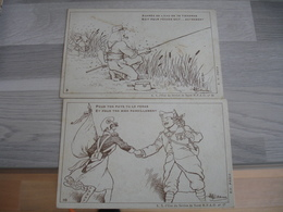 Lot 2 Carte Franchise Miliaire Armee Orient  Illustrateur Guillaume  Le Moustique Vila L Ennemi - Marcophilie (Lettres)