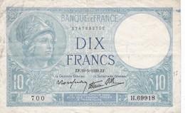 Billet France    10 Francs Minerve   Ce Billet A Circulé  Juste  2 Trous D'epingle - 1871-1952 Anciens Francs Circulés Au XXème