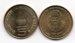 India - 5 Rupees 2011 UNC Rabindranath Tagore Lemberg-Zp - India