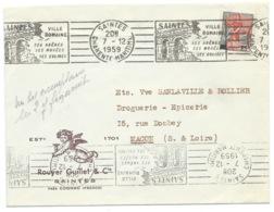 MARIANNE A LA NEF SUR ENVELOPPE / SAINTES POUR MACON / 1959 - Marcophilie (Lettres)