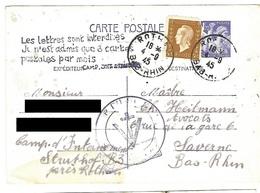 Correspondance Du Camp D'internement Du Struthof - Entier Postal 4.9.1945 - Libération