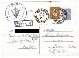 Correspondance Du Camp D'internement Du Struthof - Entier Postal 11.9.1945 - Libération