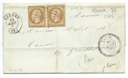N° 13 SUR LETTRE / VAOUR CORDES TARN POUR GRAULHET / 1860 / PC 3487 INDICE 16 - Marcophilie (Lettres)