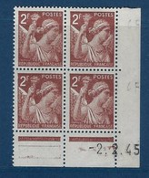 "FR Coins Datés YT 653 "" Iris 2F00 Brun "" Neuf** Du 2.2.45 - 1940-1949"