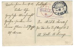"BARTENHEIM (ELSASS) 17.12.17 - Cachet / Stempel ""Militärisch Geöffnet / Prüfungsstelle"" - Guerres"