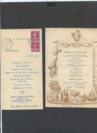 4 MENUS ANCIENS Dont Celui Expo Philatelique De 1937 Avec Son Cachet Rarissime - Alte Papiere
