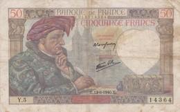 Billet France  50 Francs Jacques Coeur - E.13- 6 1940 . E  -  Y 5  Ce Billet A  Circulé - 1871-1952 Anciens Francs Circulés Au XXème