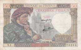 Billet France  50 Francs Jacques Coeur - A . 13- 6 1940 A  - Y . 1 Ce Billet A  Circulé - 1871-1952 Anciens Francs Circulés Au XXème